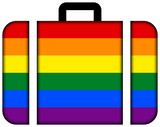 Suitcase with Rainbow Flag
