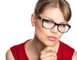 Close-up portrait of beautiful stylish woman in eyeglasses