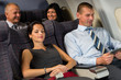 Airplane passenger relax during flight cabin sleep