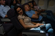 Flight passengers sleep plane cabin night travel