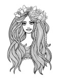 Black and white outline vector long-haired girl