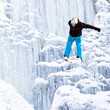 jump from ice waterfall