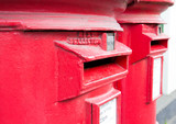 Traditional British red mail boxes poster