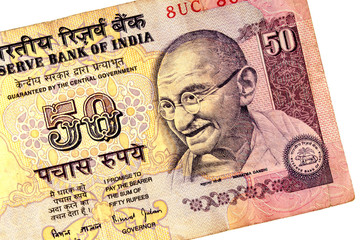 Gandhi on 50 rupees banknote from India.