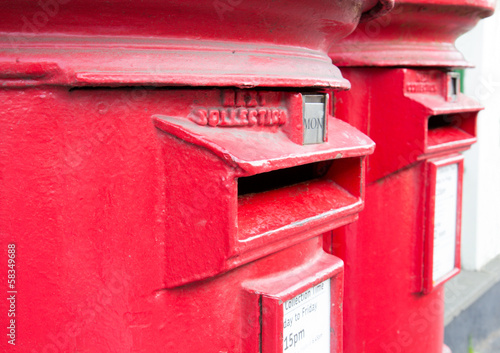 Traditional British red mail boxes