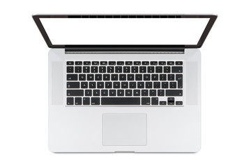 Top view of modern laptop with English keyboard