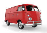 red retro van on white background