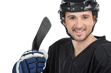 Close up Smiling male hockey player.