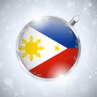 Merry Christmas Silver Ball with Flag Philippines