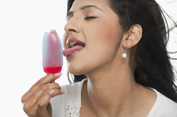 Woman licking an ice cream