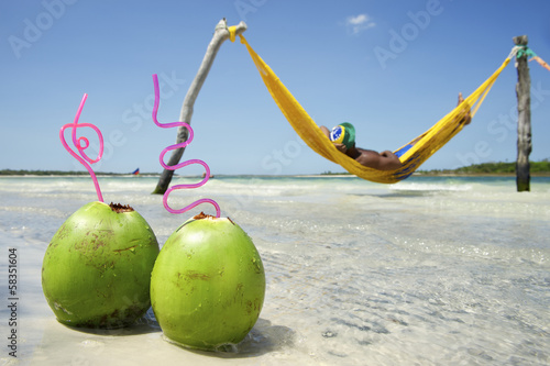 Man in Hammock Brazilian Beach with Coconuts