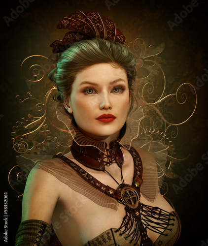 Steampunk Fashion Lady 3d CG
