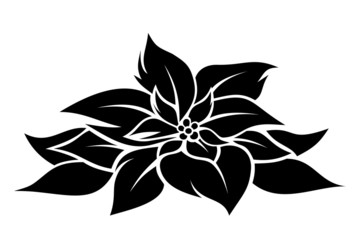 Christmas poinsettia. Vector black silhouette.
