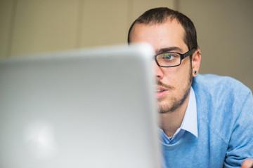 elegant business multitasking multimedia man at home