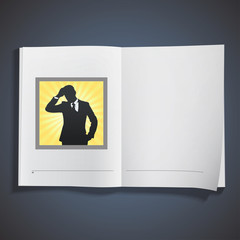 Silhouette of businessman printed on book