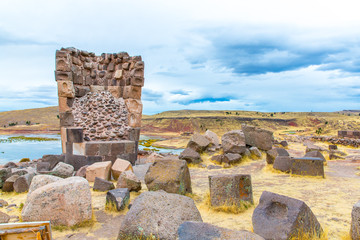 Funerary towers in Sillustani, Peru,South America