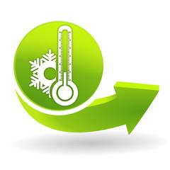 thermomètre froid sur symbole vert