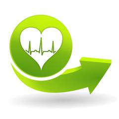 rythme cardiaque sur symbole vert