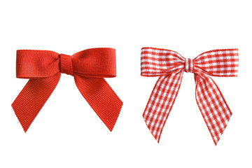 Two holiday bows, isolated