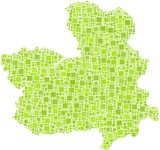 Region of Castile - La Mancha in a mosaic of green squares
