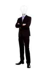 Businessman with lamp head have got an idea on white background