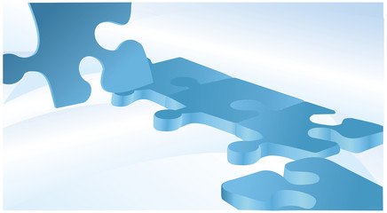 Blue vector background with puzzles