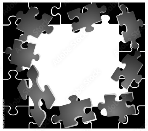 black frame with puzzles