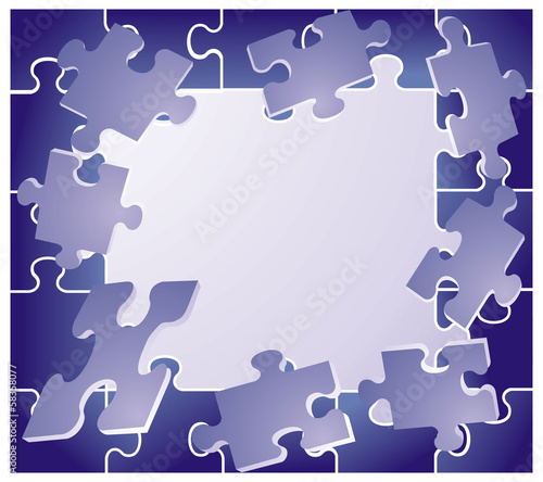 frame with blue puzzles