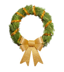 Christmas wreath with big golden bow