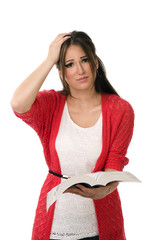 Confused student reading a book