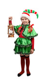 Girl in suit of Christmas elf with lamp on white