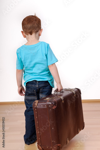 canvas print picture Child with suitcase