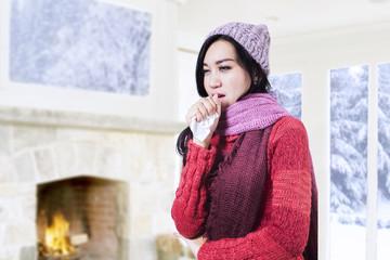 Beautiful woman coughing