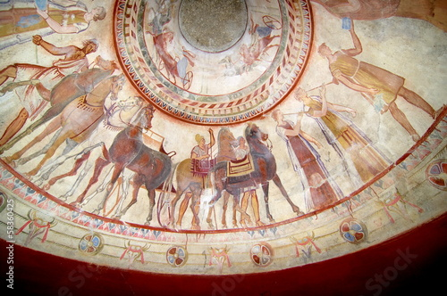fresco in the tomb of a thracian king, Kazanlak - Bulgaria