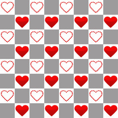 Seamless pattern with one big and many small red hearts