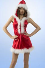 pretty girl with sexy christmas dress