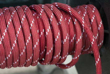 wrapped up red static rope