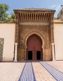 Door and entrance to mosque in Meknes Morocco poster