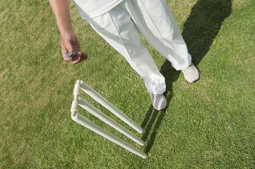 High angle view of a cricket player tossing a coin