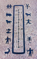 Close-up on Horizontal Zodiacal Sundial