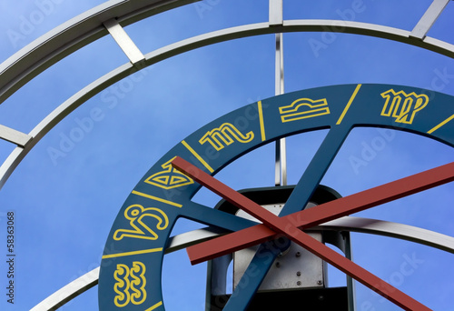 Close-up on Zodiacal Clock in Pesariis, Italy