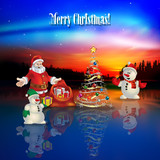 abstract celebration greeting with Santa Claus