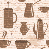 Seamless pattern with coffee types text