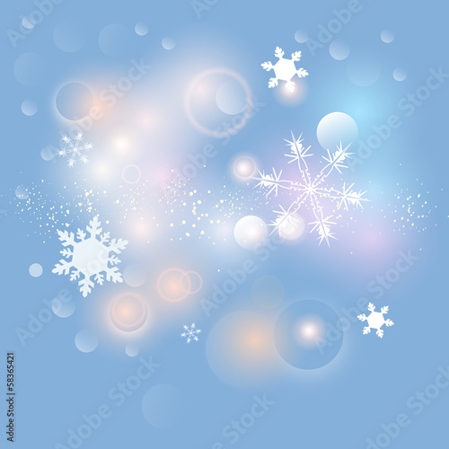 New Year Abstract Bokeh Background & Snowflakes Vector