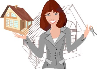Beautiful realtor with model of the house