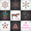 Set of vector Christmas cards with tree, horse