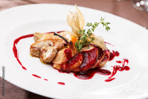 canvas print picture foie gras with sauce