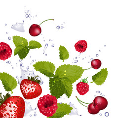 Red fruit and splash of water on white background