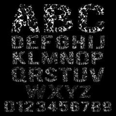 Vector set of broken white frame alphabet