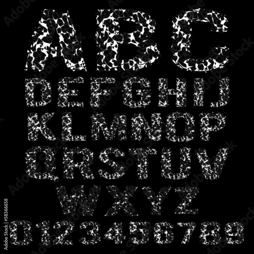 Vector set of broken white frame alphabet